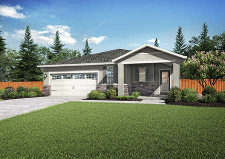 Baldwin exterior rendering with full landscaping, white two-car garage, and single story