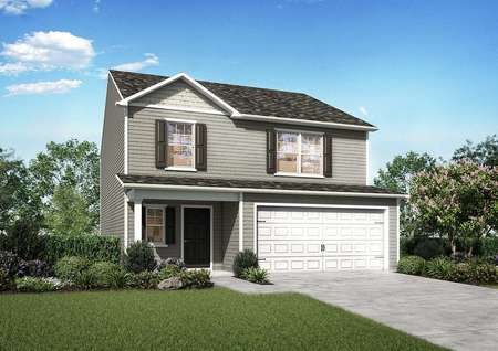 Camden exterior rendering with white carriage style garage door, brown shutters, and two living levels
