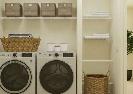 Rendering of the laundry room with a   washer, dryer, shelf and linen closet.