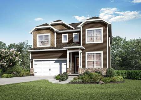 The Mid Atlantic Conway rendering of two story home with attached garage.