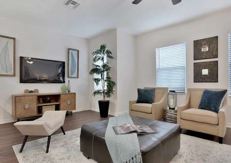 Pine model home staged with living room furniture including two light brown chairs with navy blue pillows, brown leather ottoman / coffee table with blue blanket on it, and wallart in the background