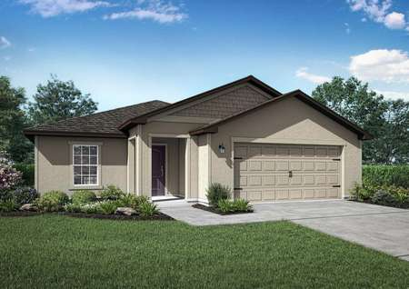 St Martin new home rendering with green grass, paved driveway and walkway to front door, and two car garage door