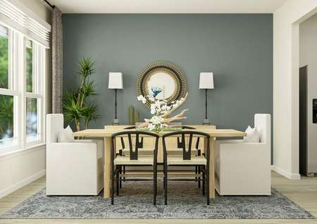 Rendering of the dining room which has   wood-style flooring, a wall of windows and an accent wall that has been   painted blue. The room is furnished with a blue rug, buffet, potted tree,   rectangular table and six dining chairs.