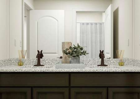 Rendering of the   full bath focused on a brown cabinet vanity with granite counters. The space   is decorated with a tray holding a plant and perfume bottle.