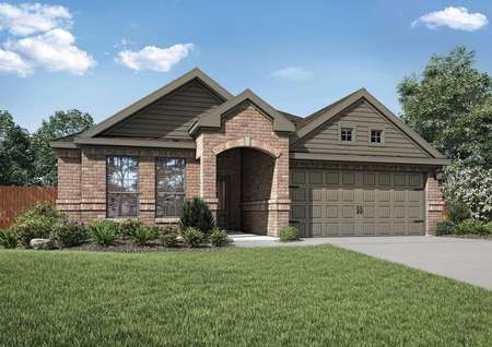Erie home plan exterior front with green grass, carriage garage doors, and brick façade finish