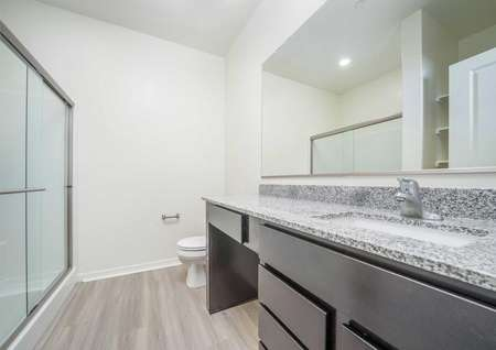 Balboa extended vanity mirror, large cabinet space, and undermount sink