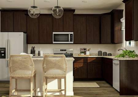 Rendering of the kitchen in the Roosevelt   floor plan which has dark brown cabinetry, granite countertops, stainless   steel appliances, an island with two stools and a window.