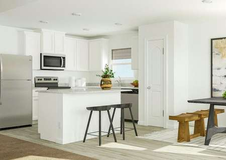 Rendering of kitchen area with view from   living room with white finishes.