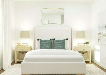 Rendering of bedroom with large bed, dual   side tables and mirror above bed.