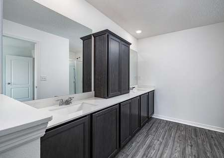 Double-sink vanity with plenty of cabinet space in the master retreat's full bathroom.