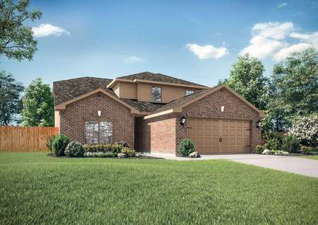 Cypress single-family house plan front yard with brick finish walls, green lawn, and dual-car garage