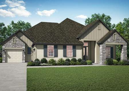 The Waycross has a gorgeous exterior with stone and siding as well as the added charm of window shutters.