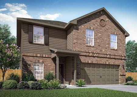 The renderings of the two-story Rio floor plan with brick walls, a brown door and a brown attached garage.