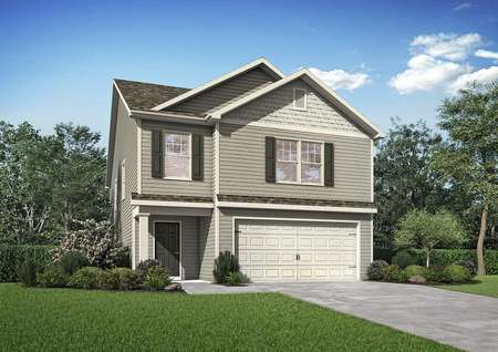 Lincoln two-story house exterior view with white 2 car garage door, lush landscape front yard, and dark brown shutters