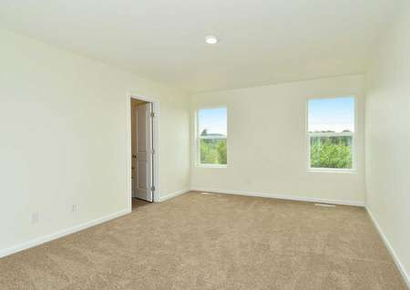 Juniper floor plans spacious carpeted master bedroom with two windows and a ceiling light fixture.