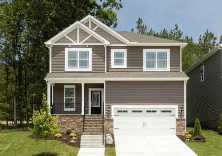 The Mid Atlantic Jordan front exterior of two story home with a raised covered porch.