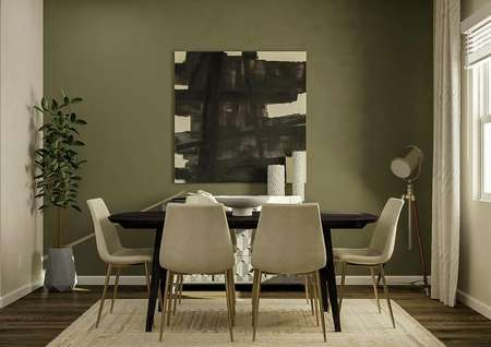 Rendering of the dining room focused on   the accent wall painted a dark green decorated with abstract black and white   artwork. In front of it is a black dining table with six white chairs. On the   wall to the right is a window decorated with cream curtains.