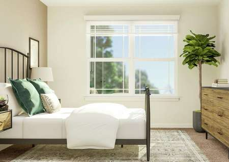 Rendering of a   secondary bedroom focused on the wall with the large window. On one side is   the rod iron bed and nightstands and on the other is the dresser and a potted   tree.