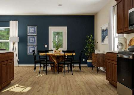 Rendering of the   dining room adjacent to the kitchen with light wood-look flooring, two   windows and a door to the back yard. Decorated with a dining table and buffet   cabinet.