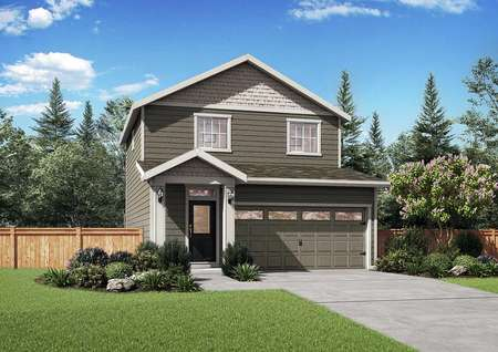 The Northwest Chelan rendering showing the front of the 2 story house with attached garage.