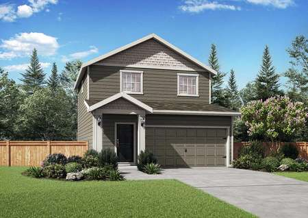 New home rendering with white trim, greenish-brown siding, and landscape front yard