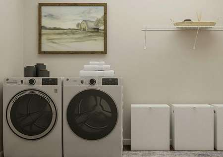 Rendering of the laundry room with   washer, dryer, three clothes hampers and shelf.
