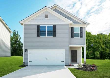 Lincoln two-story house completed with light gray siding, white garage door and trim, and dark blue shutters