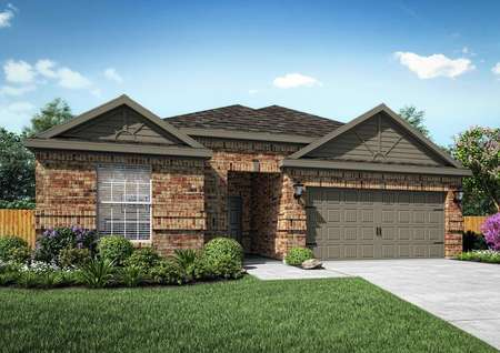 Rendering of single-story home with brick exterior and dark gray siding accents.