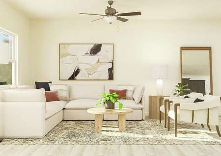 Rendering of the living room in the   Princeton, which has a window, ceiling fan and light wood-look flooring. The   room is decorated with a cream sectional couch, two cream armchairs, a round   coffee table and a rug.