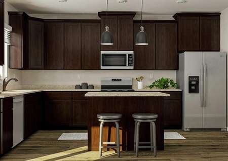 Rendering of the spacious kitchen in the   San Juan, which has large brown cabinetry, granite countertops, stainless   steel Whirlpool brand appliances and an island with two stools.