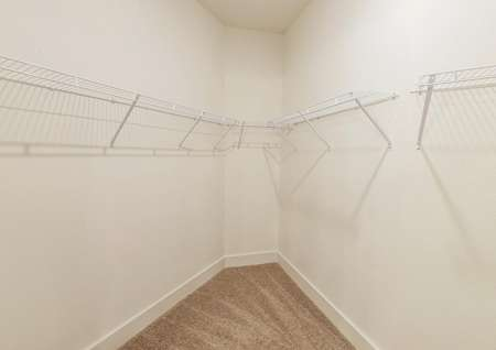 Spacious walk-in closet in the primary bedroom offering plenty of storage space.