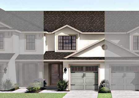 View of the Calabria floor plans renderings that is painted white and has dark colored roofing.