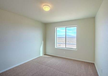Snowflake bedroom with carpet floor, ceiling light, and large frame window